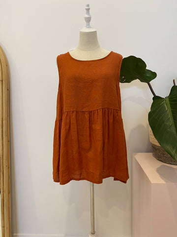 Montaigne - Linen Singlet Top with Buttons down the back - Rust