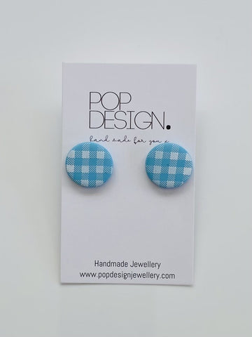 Pop Design - Gingham Studs - Blue