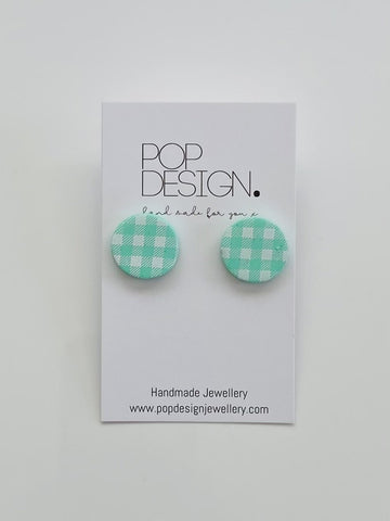 Pop Design - Gingham Studs - Mint Green