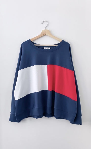 Love Lily - Mason Colour Block Sweat - Navy/Red