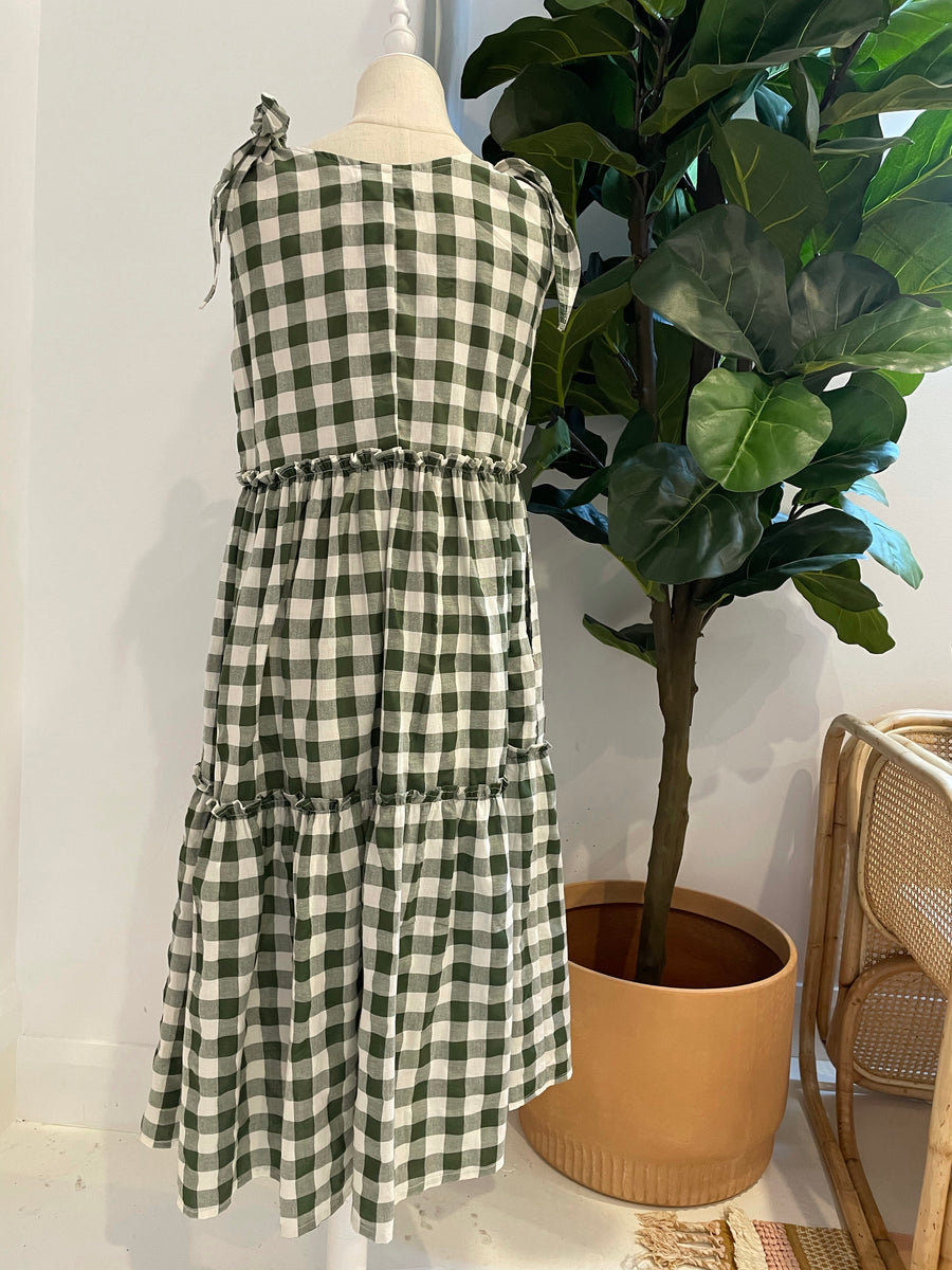 LJC Designs - Ostuni Smock Dress - Cotton - Olive Check