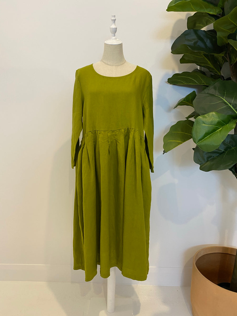 Montaigne Paris - Italian Linen Baggy Dress - Acide Green