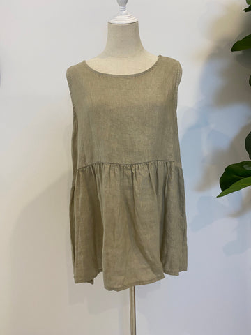 Montaigne Paris - Linen Singlet Top with Buttons down the back - Natural