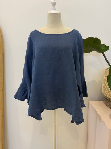 Montaigne Paris - Linen Top with Frill Sleeve - Blue Denim