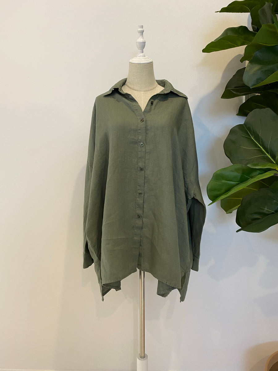 Montaigne - Over-sized Linen Boyfriend Shirt - Khaki