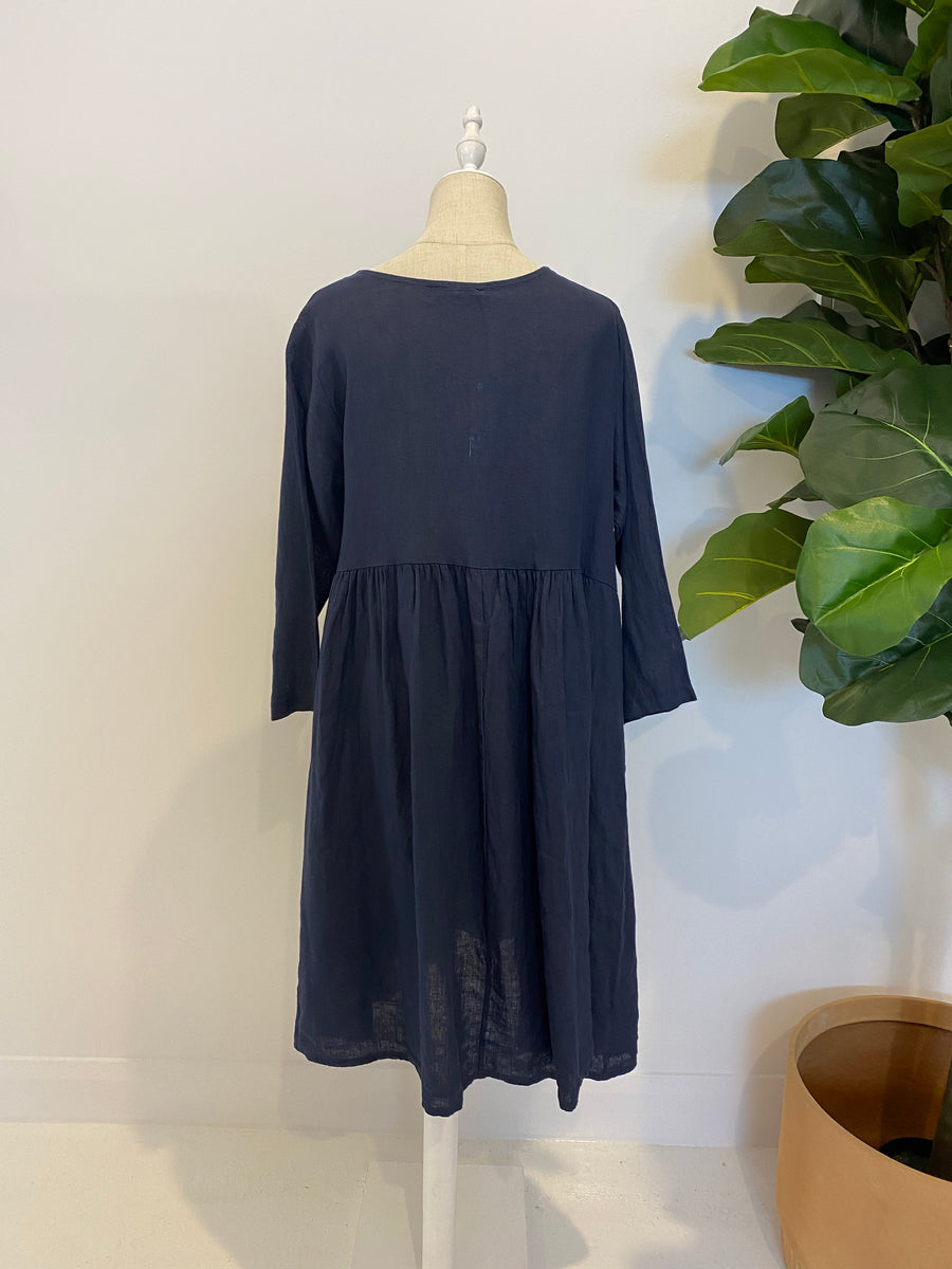 Talia Benson - Italian Linen Dress - Navy