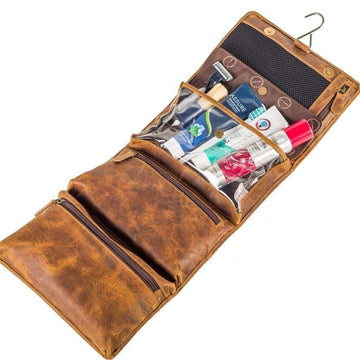 Indepal - Rockliff - fold-Out Toiletry Bag - Crazy Horse Tan