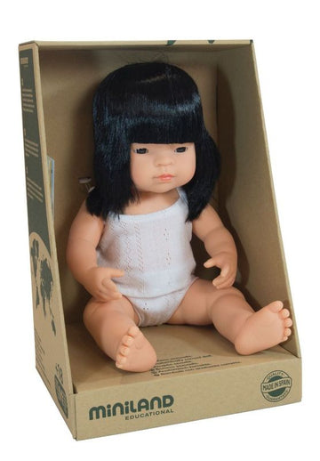 Miniland Doll - Anatomically Correct Baby - Asian Girl - 38 cm