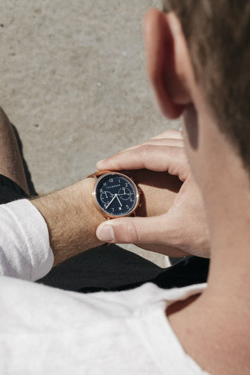 The Horse - The Chronograph Watch - Rose Gold / Navy Dial / Tan Leather Strap