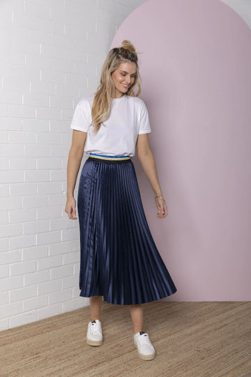 Bande Studio  - Pleated Satin Skirt - Navy