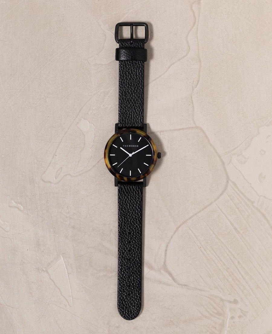 The Horse - The Resin: Brown Tortoise Shell / Black Dial / Black Leather