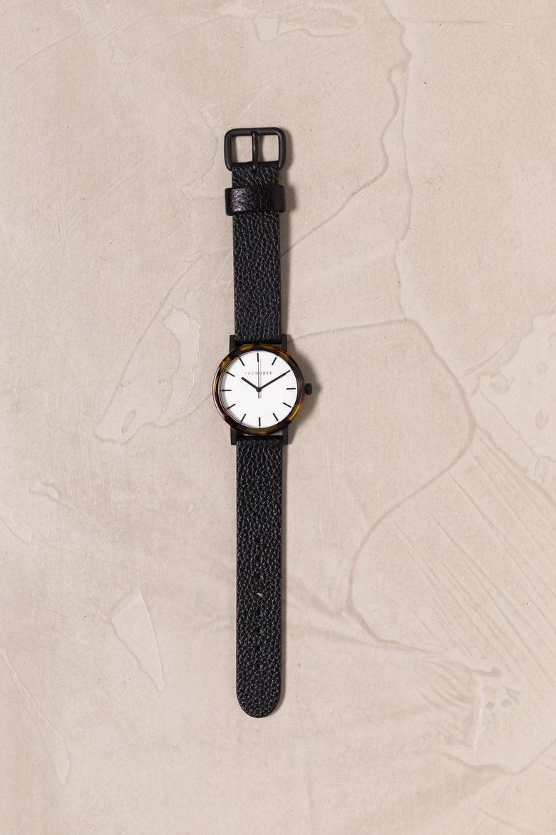 The Horse - The Mini Resin: Brown Tortoise Shell / White Dial / Black Leather
