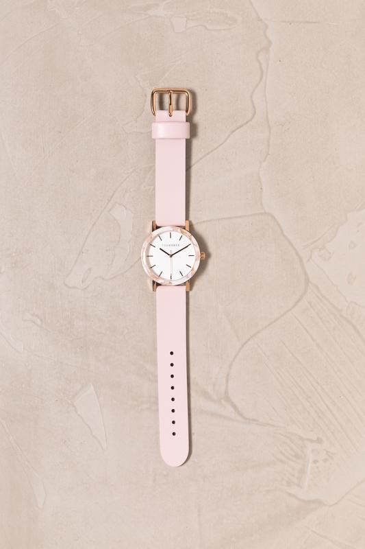 The Horse - Mini Resin / Pink Nougat Shell/ White Dial/ Baby Pink Leather