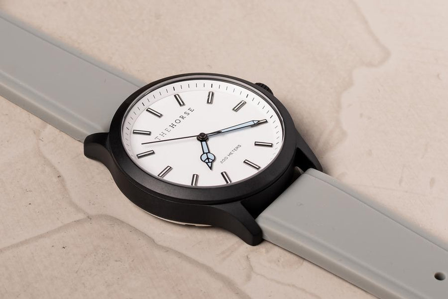 The Horse - The Coast: Special Edition Matte Black Case / White Dial / Grey Silicone Strap