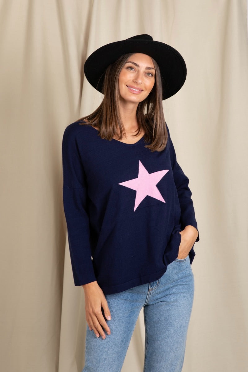 Love Lily - Ruby Star Knit - Navy/Pink