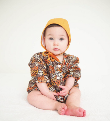 Top Knot Girl - Mustard Bonnet