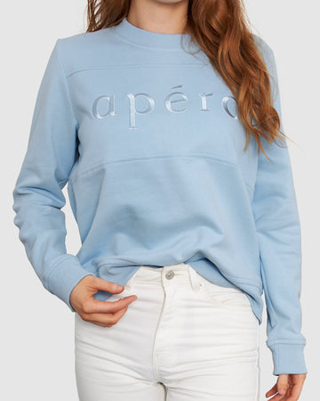 Apero - Embroidered Panel Jumper - Sky Blue