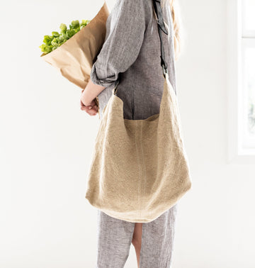 Juju & Co - Summer Jute Slouchy - Natural - Tan Leather handle