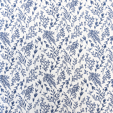 Miann & Co - NAVY LEAF PRINT FITTED COT SHEET