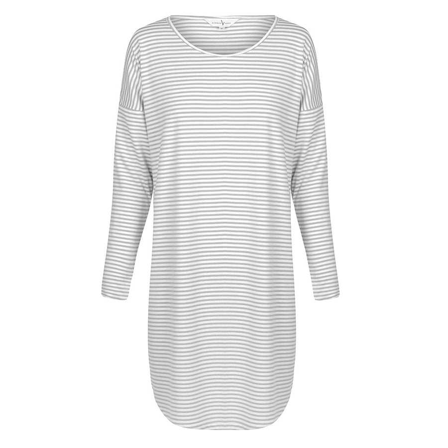 Bamboo Body - Long Sleeve Niah Dress - Grey & Cream Stripe