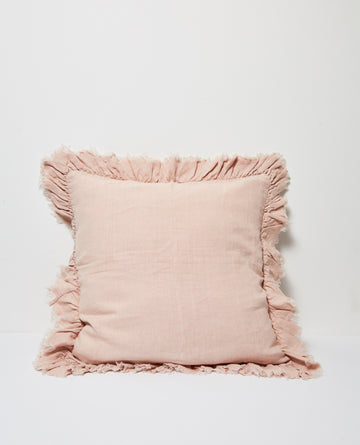 Papaya - AGNES LINEN CUSHION W RUFFLE EDGE - BLUSH