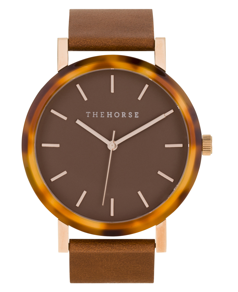 The Horse - The Resin: Caramel Treacle Case / Dark Caramel Dial / Rose Gold Indexing / Tan Leather