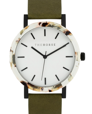 The Horse - The Resin: Nougat Shell / White Dial / Olive Leather