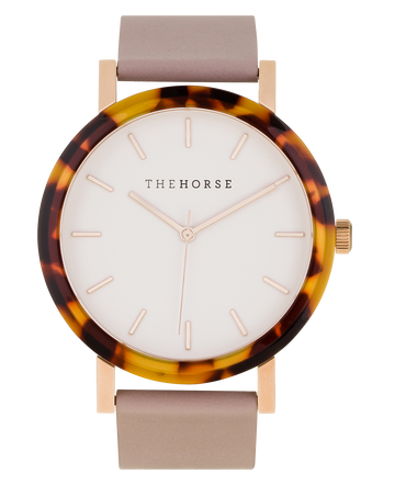 The Horse - The Resin: Tortoise Shell Case / White Dial / Rose Gold Indexing / Blush Leather