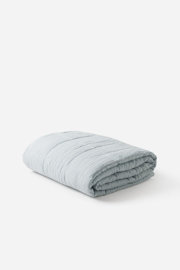 Citta - Linen Quilted Blanket - Duck Egg - Large