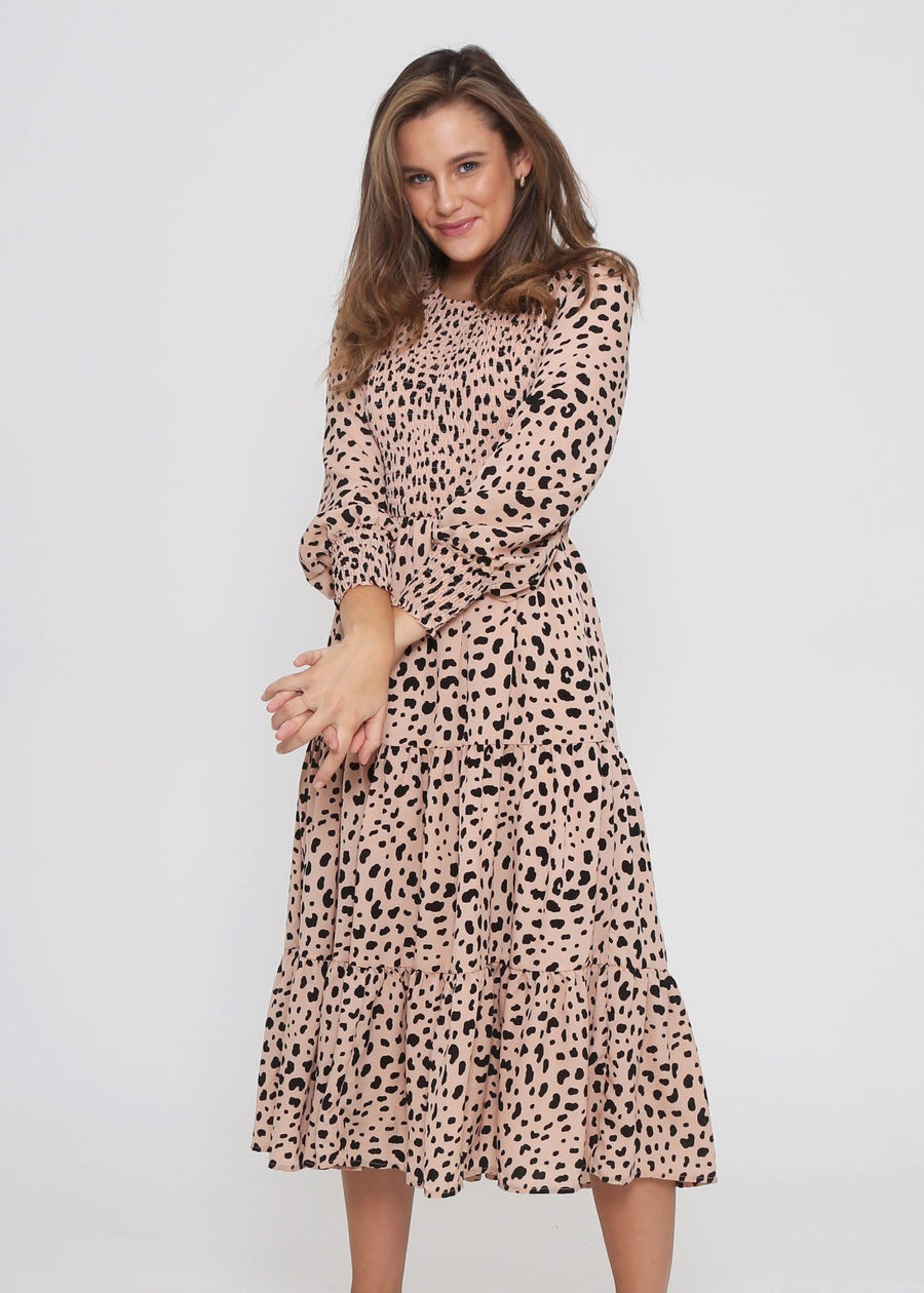 Leoni - Phoenix Dress - Peach Cheetah