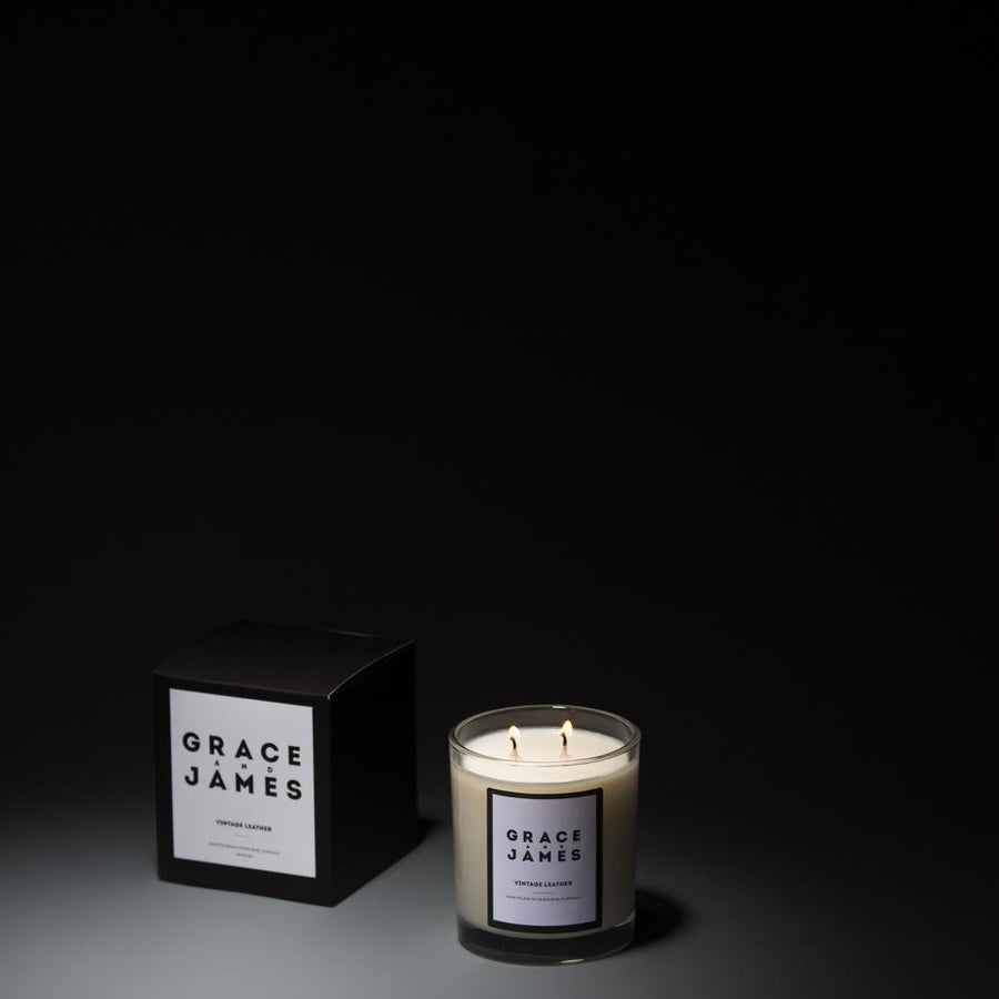 Grace & James  - Vintage Leather Candle - XL (80hrs)