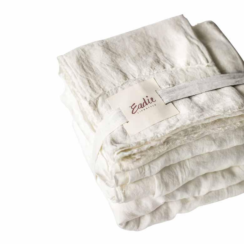 Eadie Lifestyle - 100% Linen Sheet Set - Flat Sheet 255x255cm & Fitted Sheet 205x155x35cm Queen Size - White