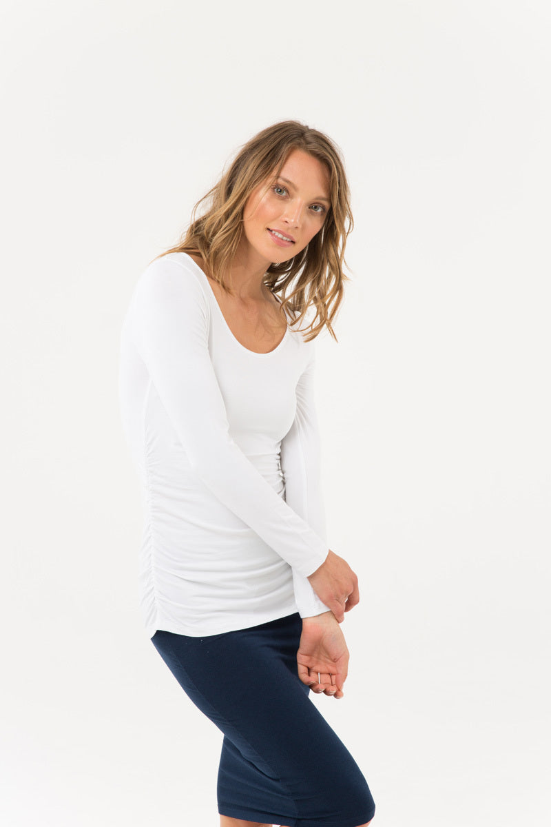 Bamboo Body - Long Sleeve Ruched Bamboo Tee - White