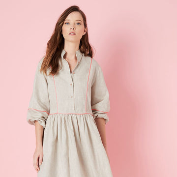 Elms + King - Barrington Shirt Dress -Natural (Peach Piping)
