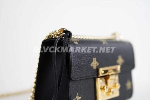 Padlock Bee Star Small Shoulder Bag in Black Leather