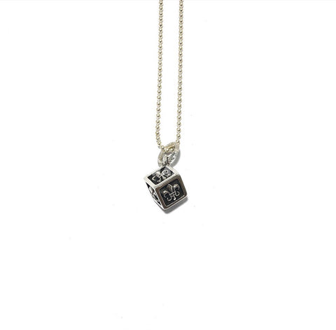 CUBE PENDANT WITH BALL CHAIN NECKLACE