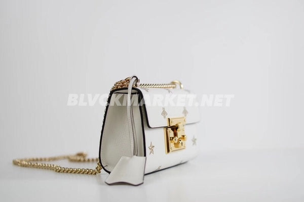 Padlock Bee Star Small Shoulder Bag in White Leather