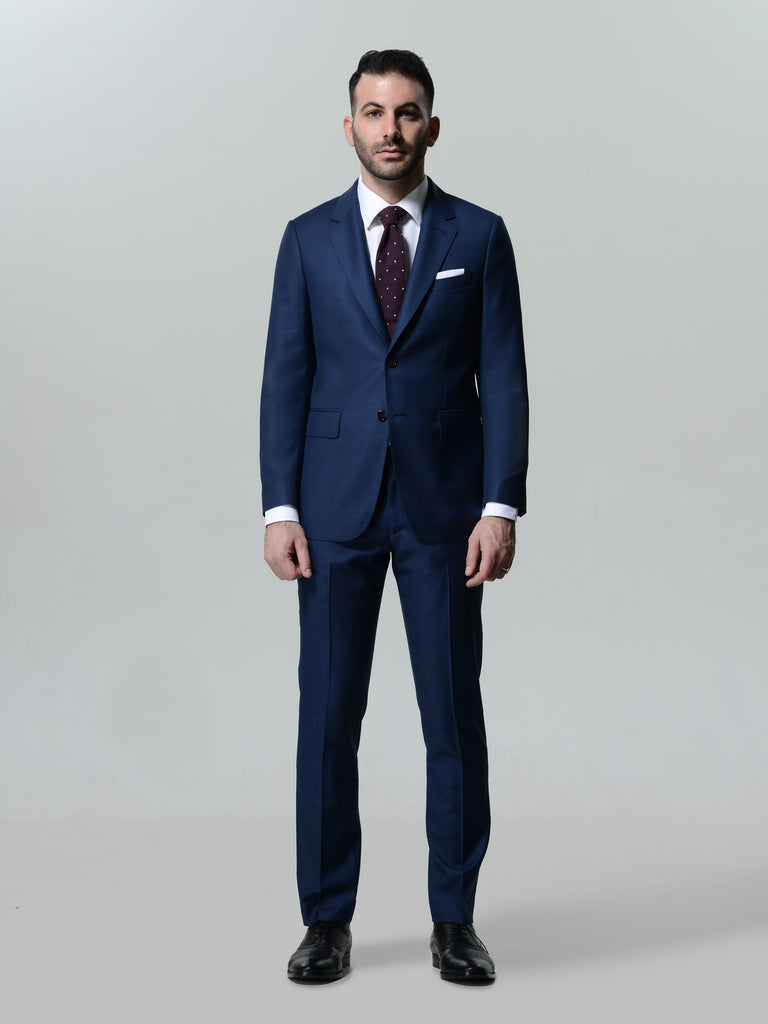 Blue All Seasons Suit by Vitale Barberis Canonico Super 110s' Fabric