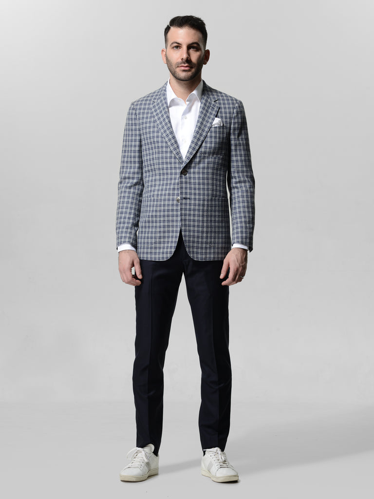 Wool Silk Grey Windowpane Checks Jacket by Vitale Barberis Canonico