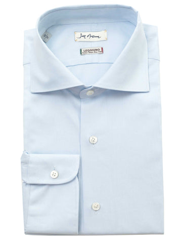 Light Blue Spread Collar Shirt by Leggiuno s.p.a.