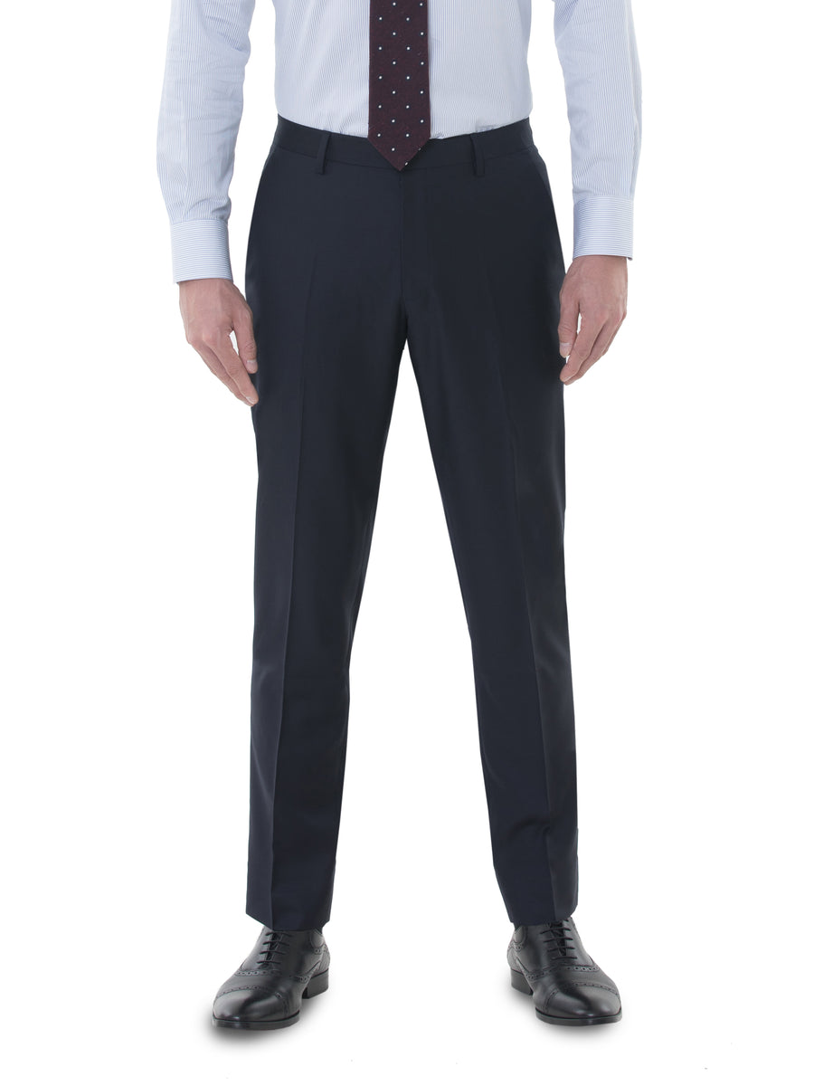 Dark Navy All Seasons Single Suit Trousers by Vitale Barberis Canonico