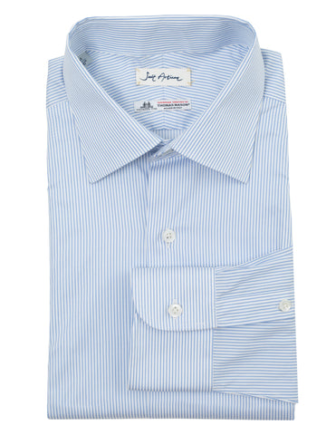 Blue Classic Collar Stripes Shirt by Thomas Mason