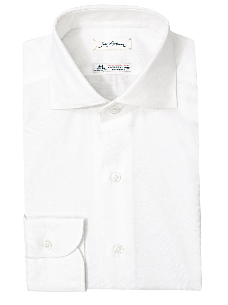 Ivory Spread Collar Shirt by Thomas Mason