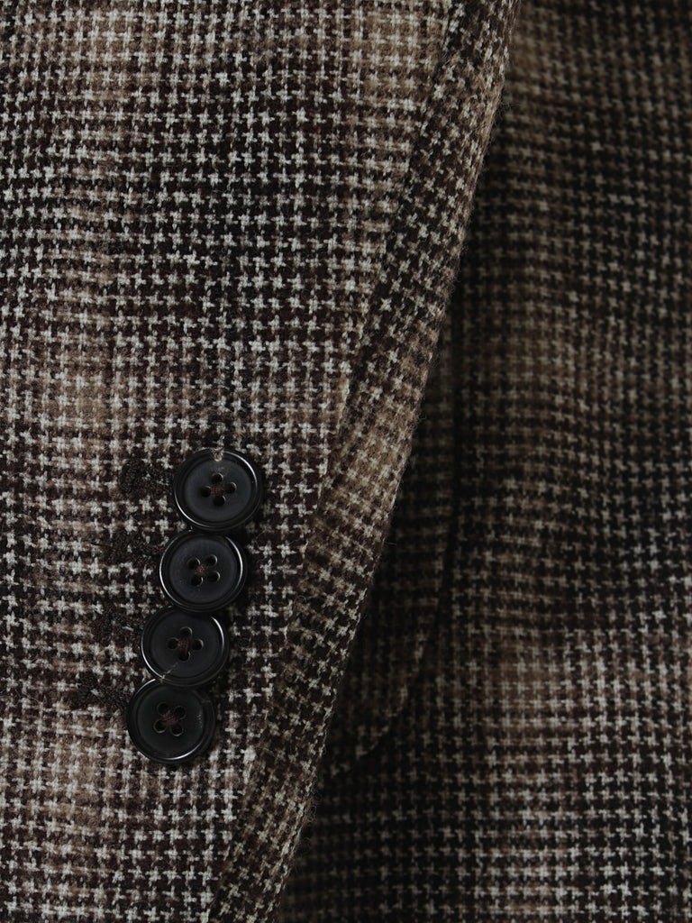 Houndstooth Dark Brown Sport Jacket by Japanese Wool Nylon Fabric
