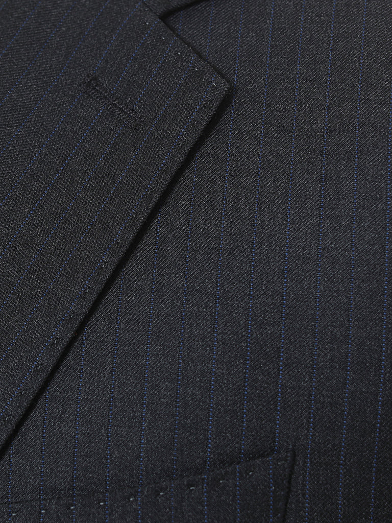 Striped Charcoal Grey Suit by Vitale Barberis Canonico Super 110s' Fabric
