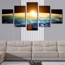 5 Panel Sunrise Unframed Canvas Art Painting