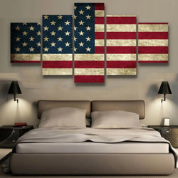 5 Panel Rustic American Flag Wall Canvas Art Painting