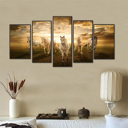 5 Panel Running Horses Wall Canvas Art Painting