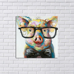 Hand painted Lovely Pig Oil Painting