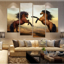 Fighting Horses Wall Canvas Art Painting